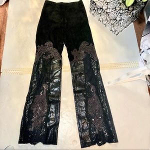 Vintage Suede/ Leather & Lace Custom Pant
